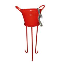 Hielera mediana con poruña y tapa roja