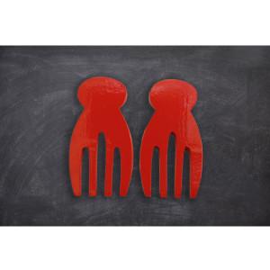 juego cucharones tenaza paleta rojo