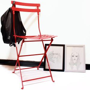 silla plegable bistro roja